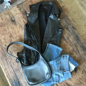 Entire outfit!Genetic Denin leather vest Coach bag